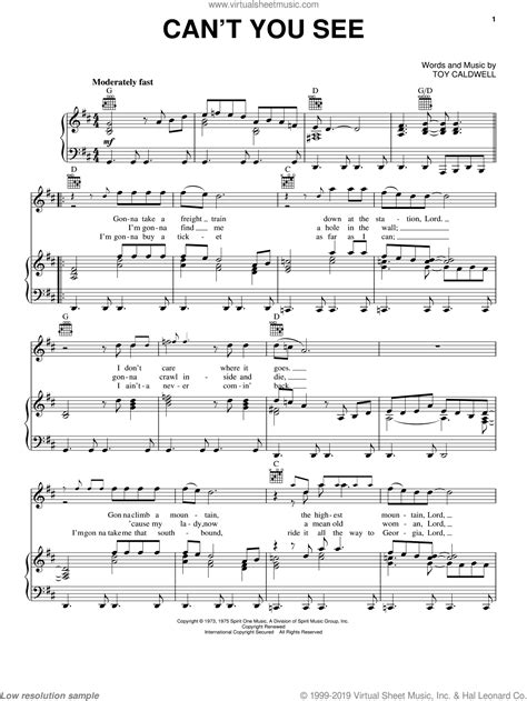 Band - Can't You See sheet music for voice, piano or